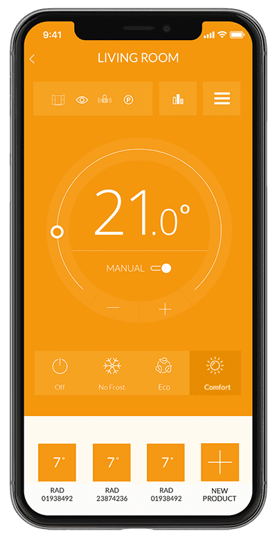 App screen showing temperature control